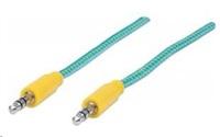 MANHATTAN Kabel Jack 3,5mm, propojovací 1m (M/M), opletený (modrozelená/žlutá)