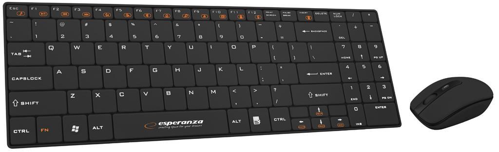 Esperanza EK122K bezdrátová klávesnice,nízkoprofilová,US+myš,2.4GHz,černá