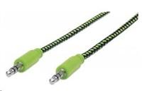 MANHATTAN Kabel Jack 3,5mm, propojovací 1m (M/M), opletený (černá/zelená), Polybag