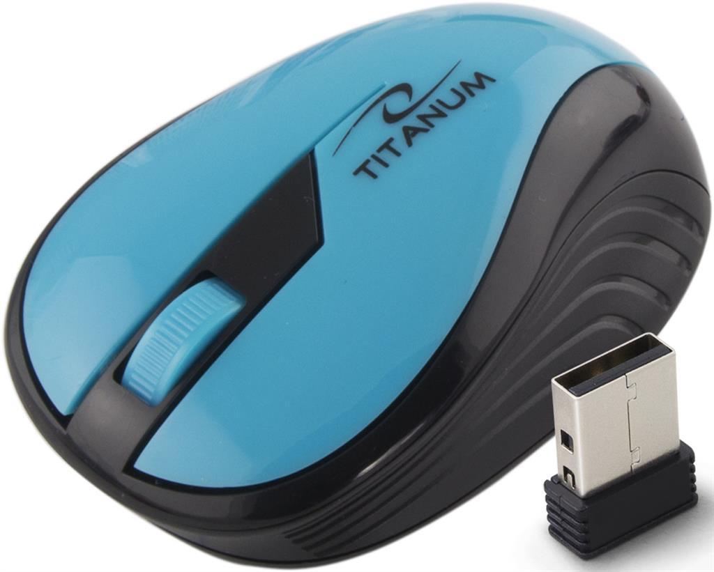 Titanum TM114T RAINBOW bezdrátová optická myš, 1000 DPI, 2.4GHz, 3D, tyrkysová