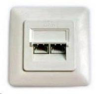 Zásuvka 2xRJ45 stíněná pod omítku (při užití krabičky i na zeď), Cat6