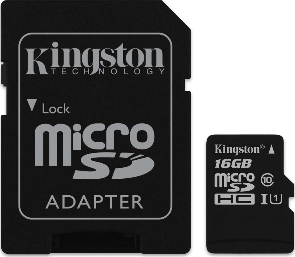 Kingston micro SDHC karta 16GB Class 10 UHS-I + adaptér