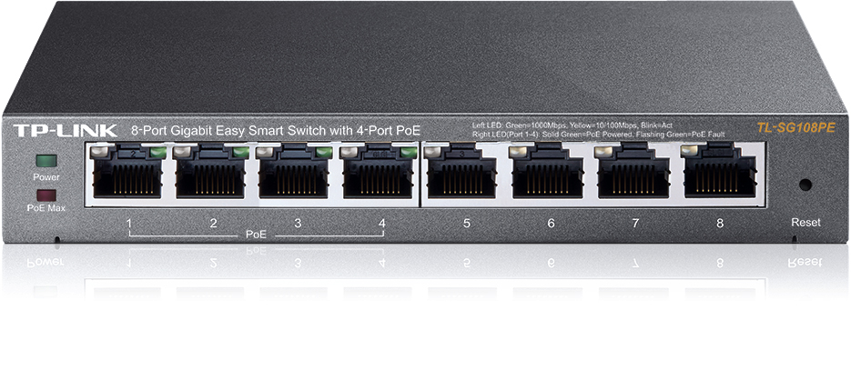 TP-Link TL-SG108PE / Easy Smart Switch / 8x 10/100/1000Mbps/ VLAN / QoS / IGMP Snooping / steel case