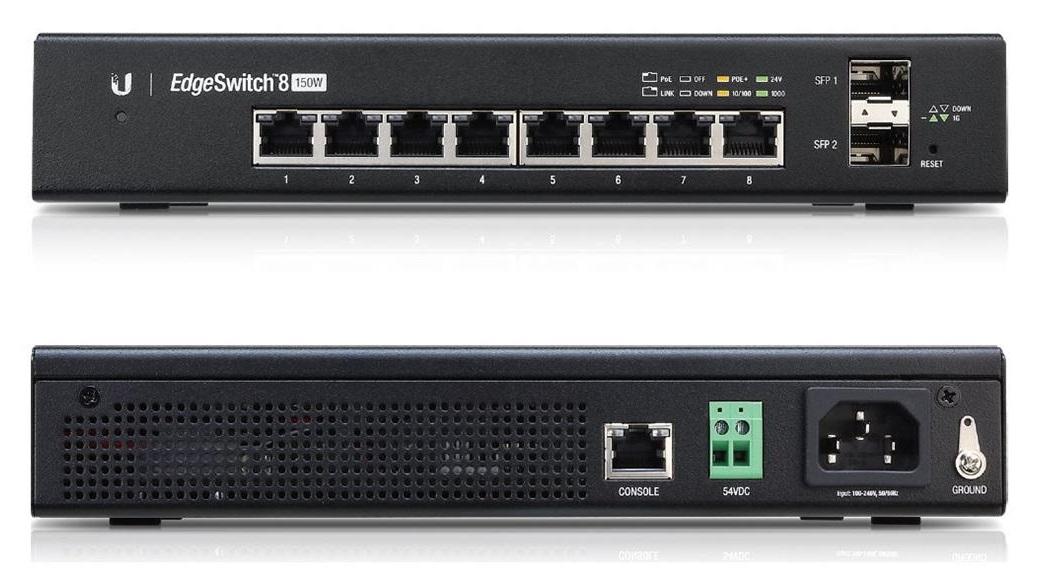 EdgeSwitch ES-8-150W - 8x GLAN, 2x SFP, POE+, 150W