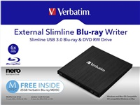 VERBATIM External Slimline Blu-Ray Writer USB 3.0, SW Nero Burn & Archive, Mac/Win kompat.