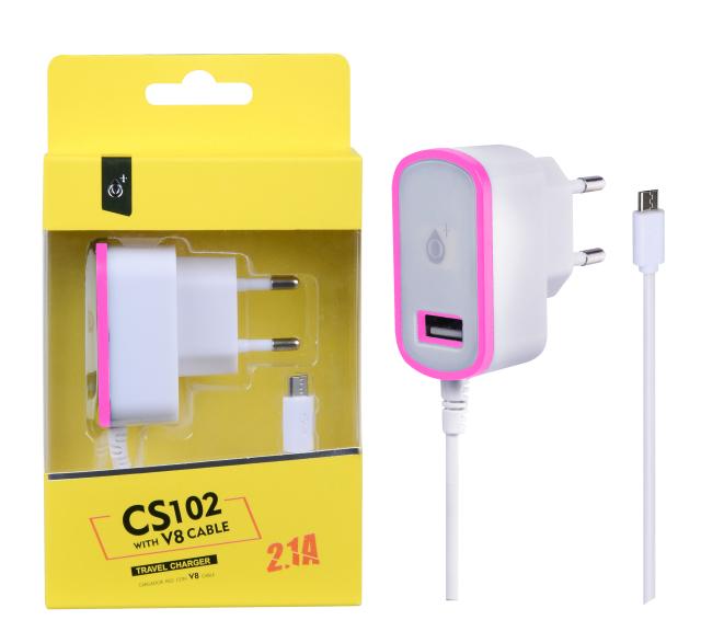Nabíječka PLUS MicroUSB s USB výstupem 5V/2,1A, růžová