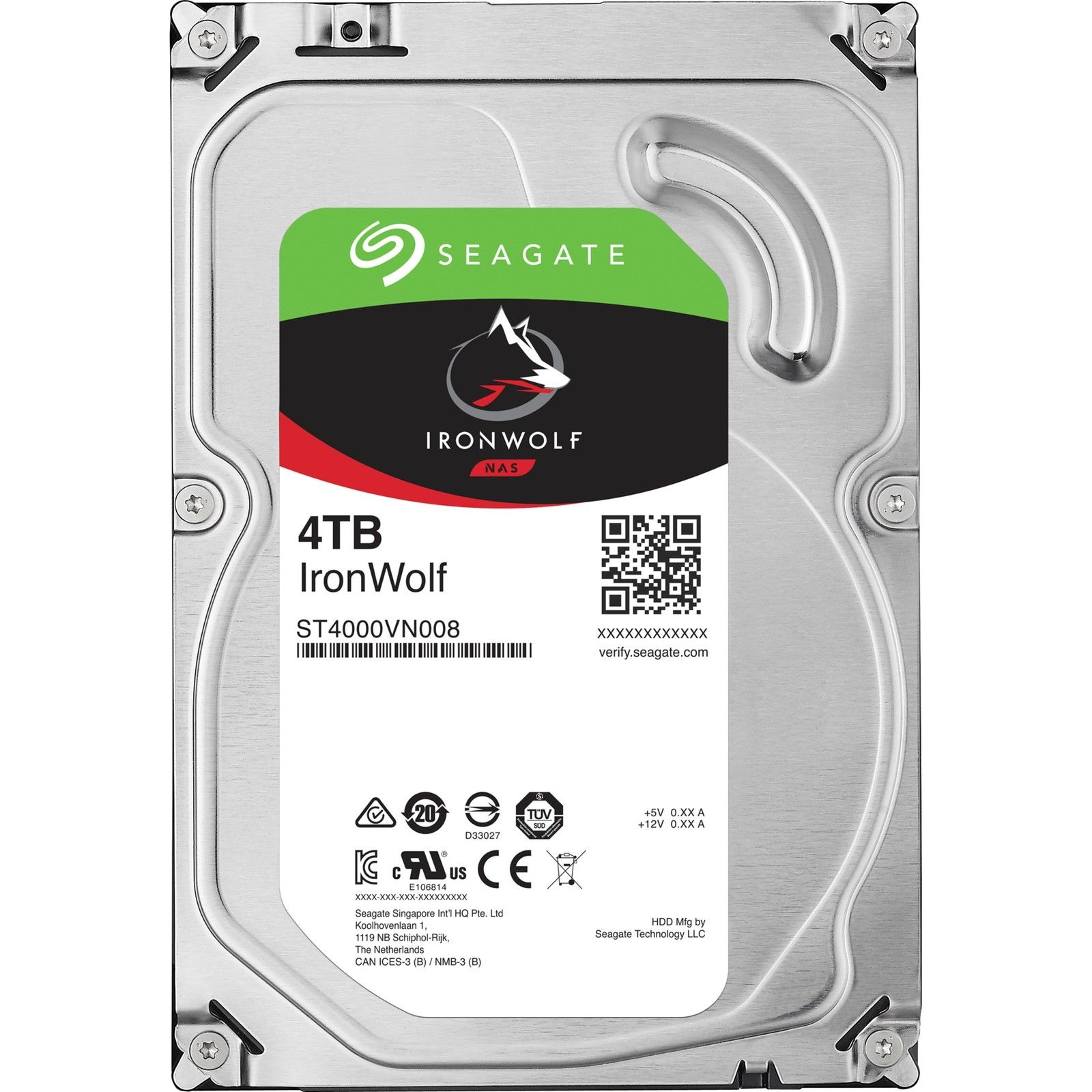 "Seagate IronWolf, NAS HDD, 4TB, 3.5"", SATAIII, 64MB cache, 5.900RPM"