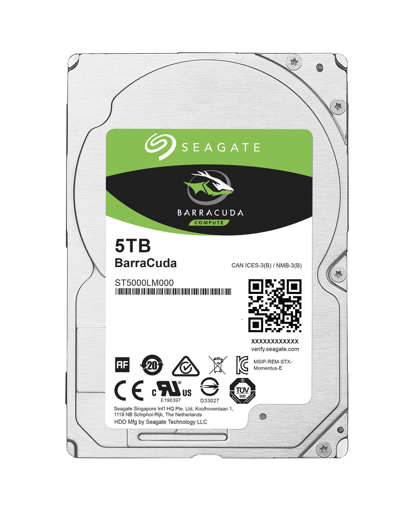 "Seagate BarraCuda 2.5"" HDD, 5TB, 2.5"", SATAIII, 128MB cache, 5.400RPM"