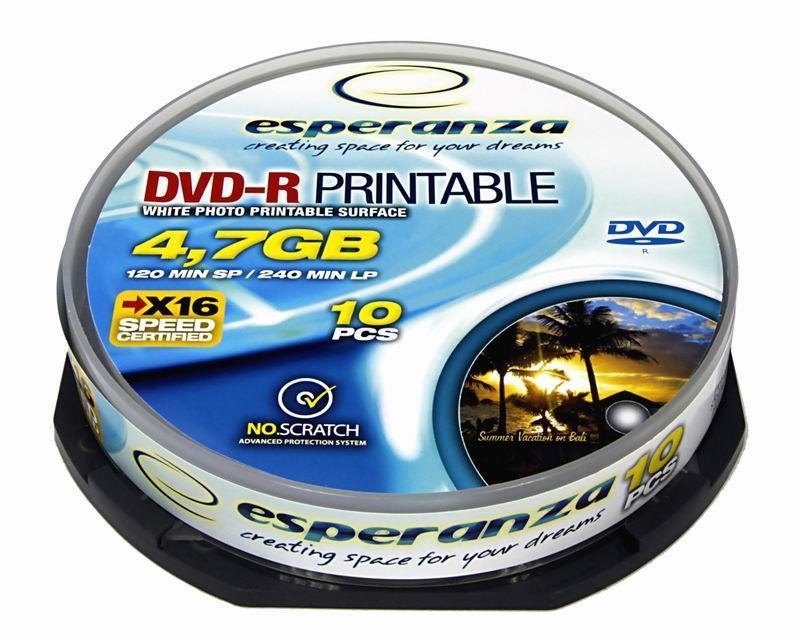 Esperanza DVD-R [ cakebox 10 | 4,7GB | 16x | pro potisk ]