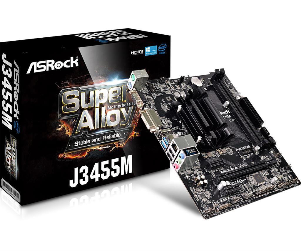 ASRock J3455M, DDR3/DDR3L 1866, SATA3, D-Sub, HDMI, DVI-D