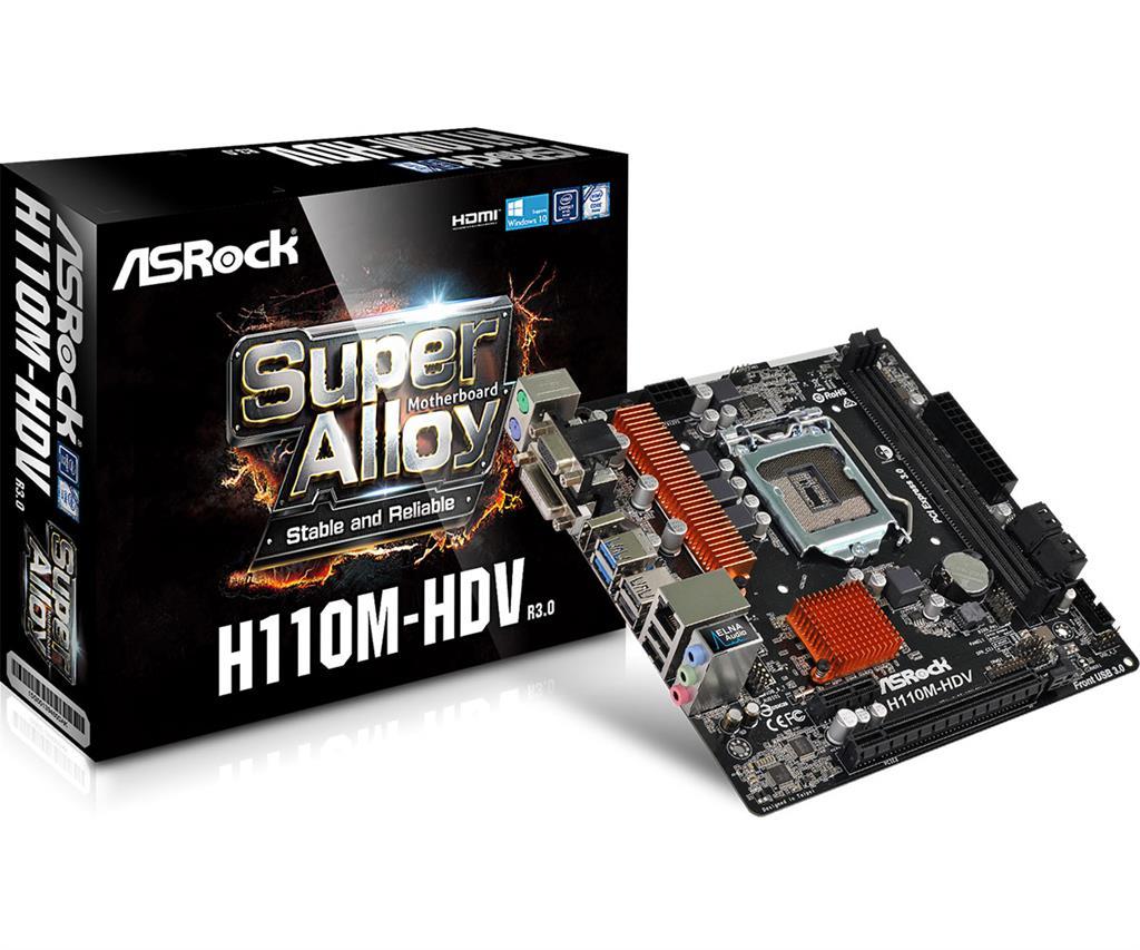 ASRock H110M-HDV R3.0, H110, DDR4 2133, DVI-D/D-Sub/HDMI