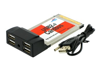 4World 4-portový řadič USB 2.0 na kartě PCMCIA, VIA chipset