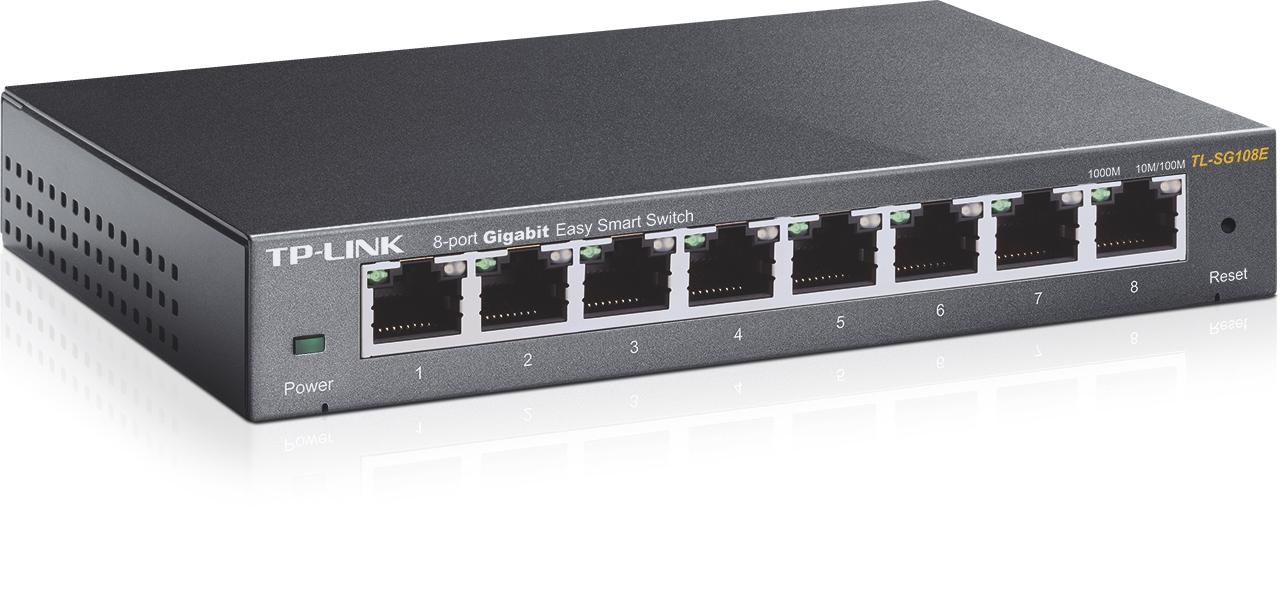 TP-Link TL-SG108E - 8-Port Gigabit Desktop Easy Smart Switch, 8x10/100/1000Mbps RJ45 ports