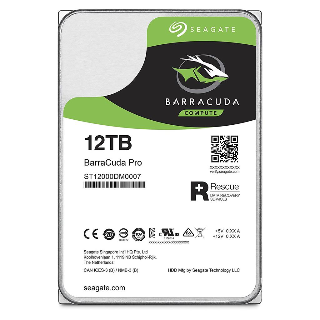 "Seagate BarraCuda Pro 7200 12TB 3.5"" HDD, SATA3, 7200RPM, 256MB cache"