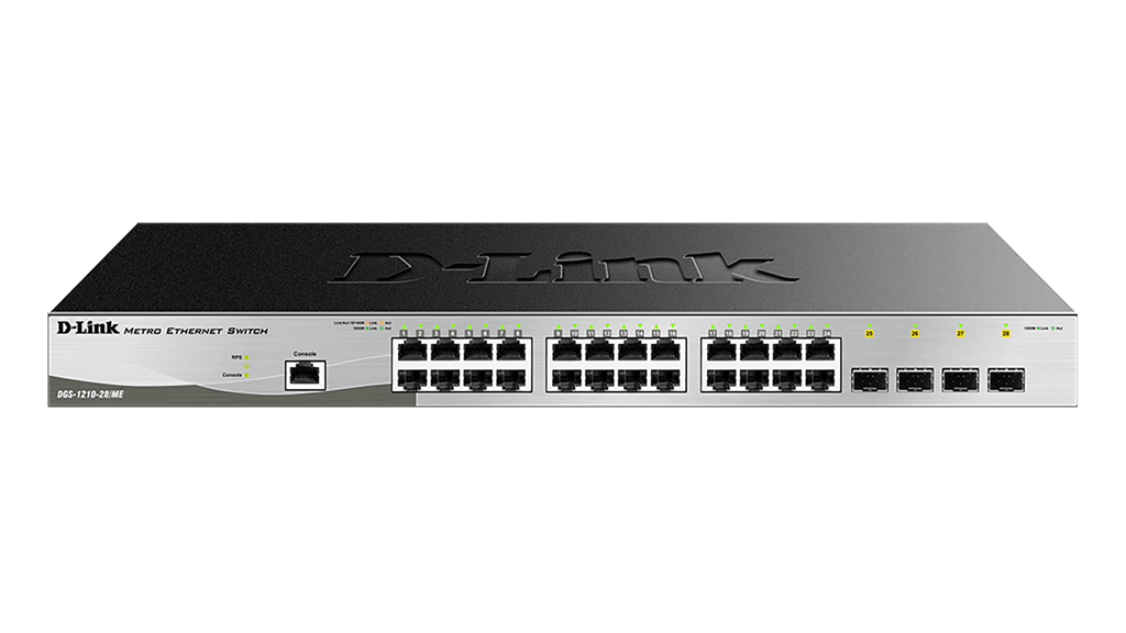 D-Link DGS-1210-28/ME L2+ Gigabit Managed switch, 24x GbE, 4x SFP, Metro Ethernet