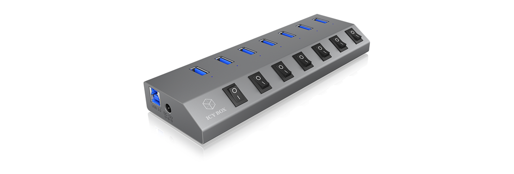 IcyBox 7x Port USB 3.0 HUB and charger, On/off switch for every port