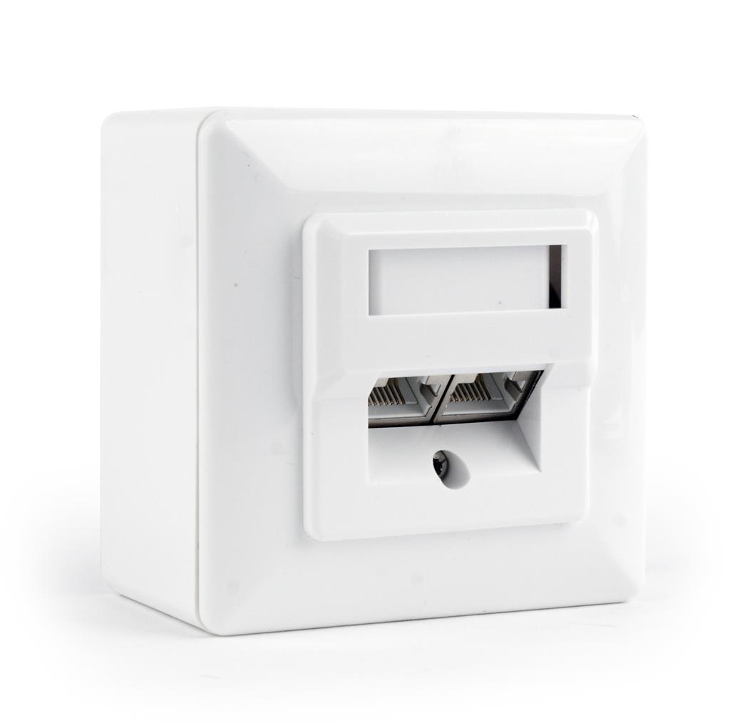 Gembird zásuvka kat. 6 STP 2xRJ45 na i pod omítku, bílá, stíněná