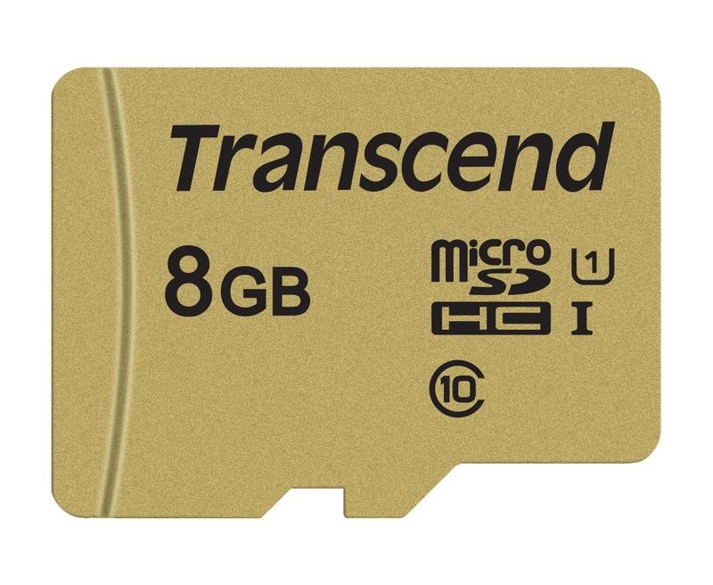 Transcend 8GB microSDHC 500S UHS-I U1 (Class 10) MLC paměťová karta , 95MB/s R, 60MB/s W (s adaptérem)
