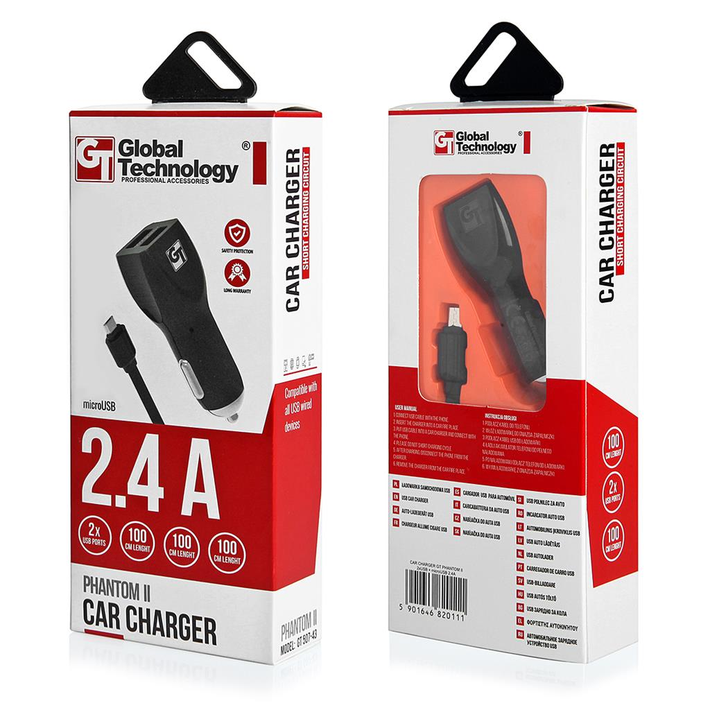 CAR CHARGER GT PHANTOM II 2xUSB WITH CABLE microUSB 2.4A