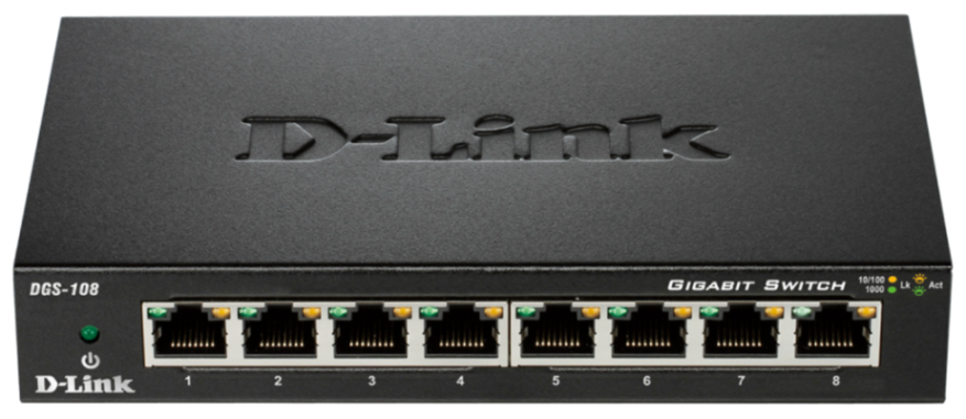 D-Link DGS-108 kovový 8-port 10/100/1000 Switch