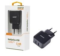 Aligator síťová nabíječka Turbo charge, 2xUSB výstup 2,4A, černá
