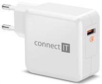 CONNECT IT QUICK CHARGE 3.0 nabíjecí adaptér 1x USB (3A), QC 3.0, bílý