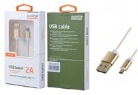 Aligator datový a nabíjecí kabel K3371, konektor micro USB oboustranný, zlatá
