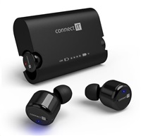 CONNECT IT True Wireless HYPER-BASS Bluetooth sluchátka do uší s mikrofonem, černá
