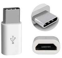Aligator adaptér micro USB --> USB C pro nabíječky a datové kabely, bílá