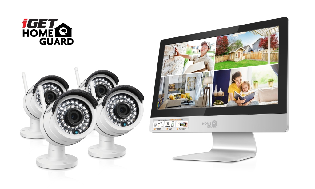 "iGET HGNVK49004 - CCTV bezdrátový WiFi set HD 960p s LCD displejem 12"", 4CH NVR + 4x IP kamera 960p"