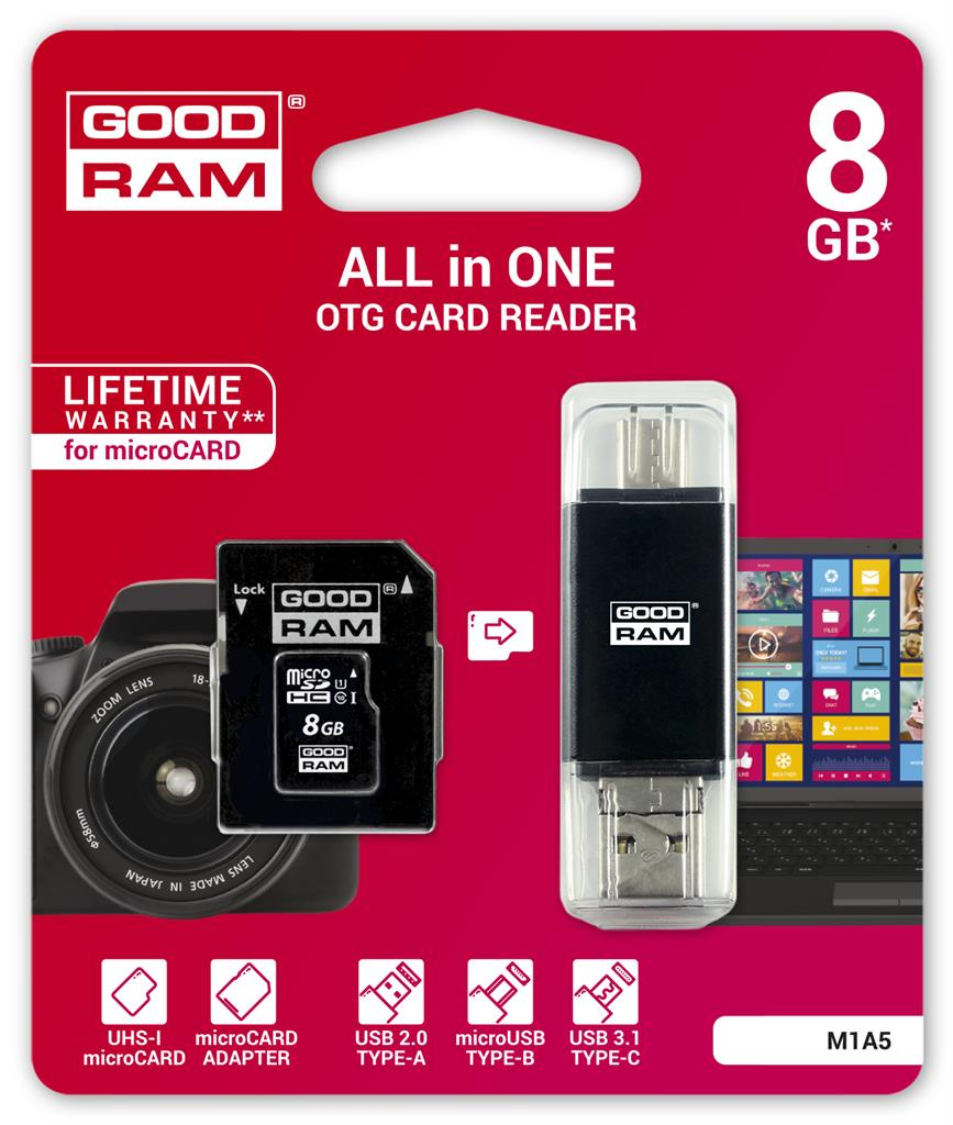GOODRAM memory card micro SDHC 8GB All in one Class 10 UHS I + reader type-C
