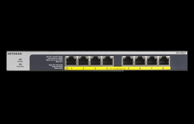 NETGEAR 8-port 10/100/1000Mbps Gigabit Ethernet, Flexible PoE, GS108LP
