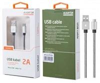 Aligator datový a nabíjecí kabel P5732, konektor micro USB, stříbrná