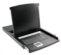 """KVM konzole, LCD 19"""", ovládání 8-mi PC, PS2/USB, do 19"""" skříně od 600mm, touchpad, včetně kabelů"""