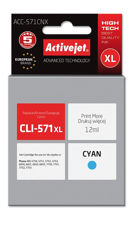 ActiveJet ink Canon CLI-571C XL new ACC-571CNX 12 ml