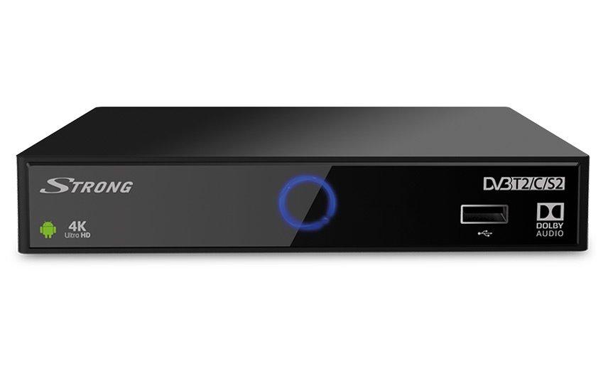 STRONG android box SRT 2402/ 4K Ultra HD/ DVB-S2/T2/C/ HEVC/H.265/ HDMI/ 2x USB/ BT/ LAN/ W-Fi/ Android 7.1/ černý