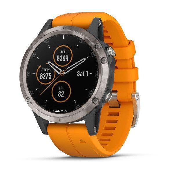 Garmin GPS sportovní hodinky fenix5 Plus Sapphire Titanium oranžový řemínek