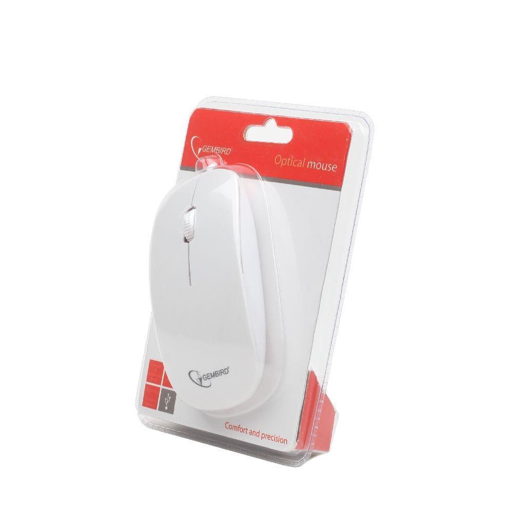 Gembird optická myš 1200 DPI, USB, bílá