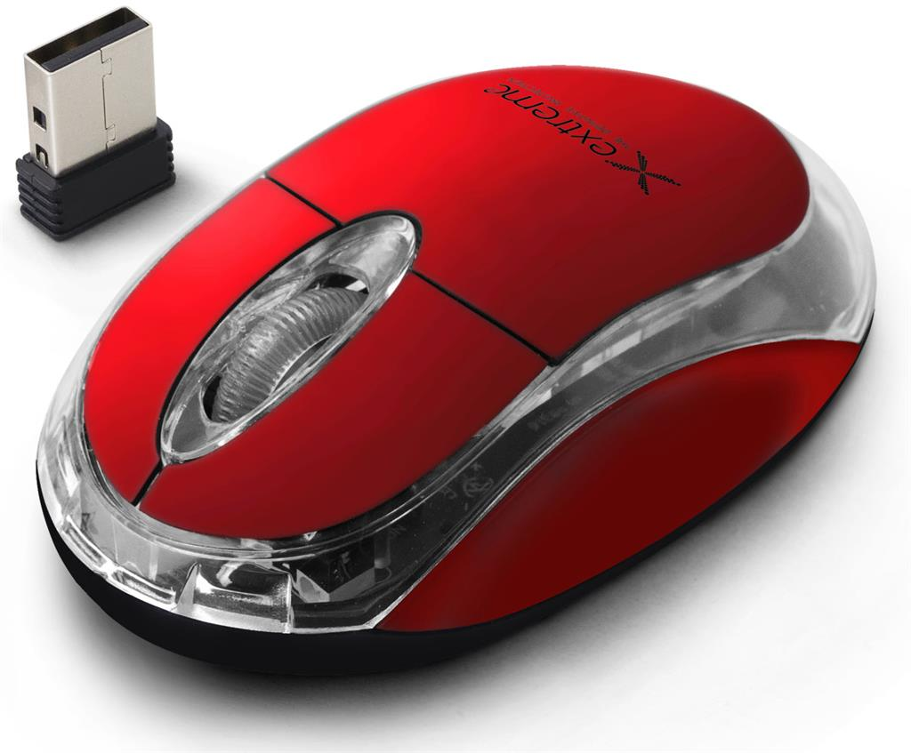 Extreme XM105R HARRIER Bezdrátová optická myš, 2.4GHz, 1000 DPI, červená