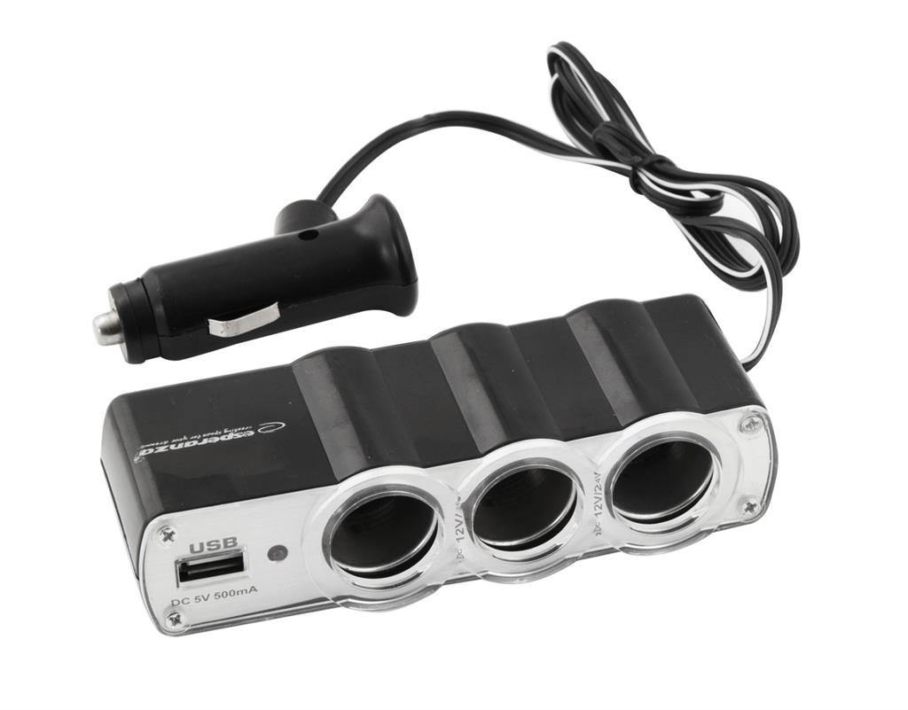 ESPERANZA EZ124 WAWE - napájecí adaptér do auta, 3x zasuvka zapalovače + 1x USB