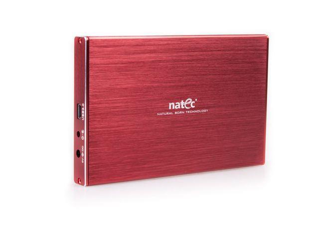 Natec RHINO LTD Externí box pro 2.5'' SATA HDD, USB 3.0, slim, hliníkový, červ.