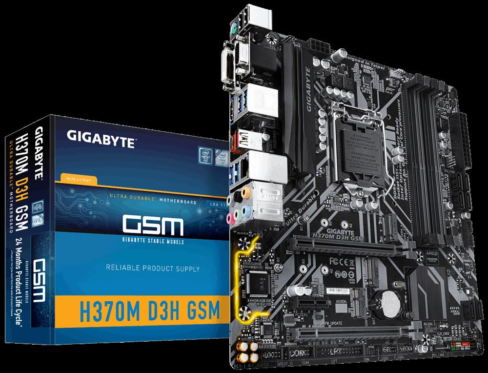 GIGABYTE MB Sc LGA1151 H370M D3H GSM (rev. 1.0), Intel H370, 4xDDR4, VGA, mATX