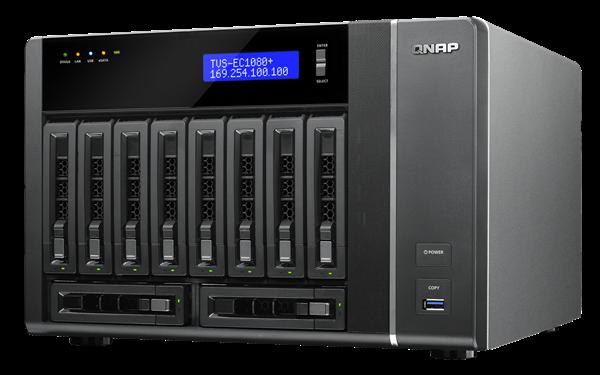 QNAP TVS-EC1080-i3-8G (3.5GHz, 8GB RAM, 4x LAN, 10xSATA)