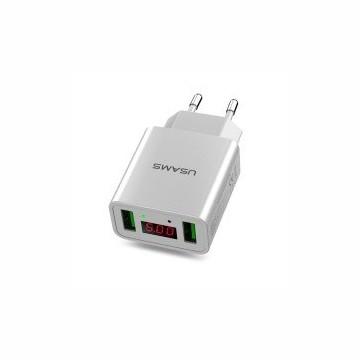 USAMS CC040 Dual USB LED Display Cestovní Dobíječ White