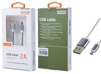 Aligator datový a nabíjecí kabel K3371, konektor micro USB oboustranný, šedá