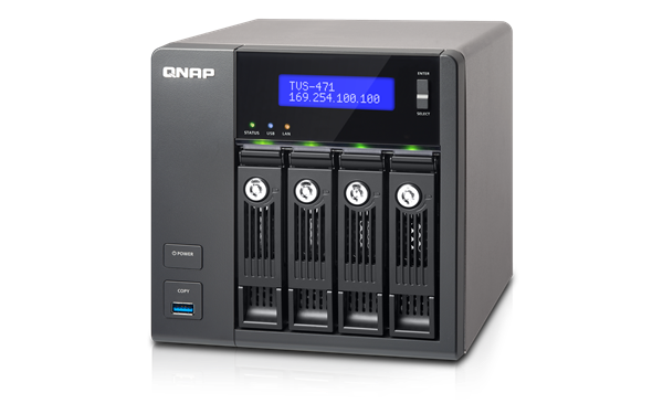 4-Bay NAS, 4GB DDR3 RAM (max 10GB), SATA 6Gb/s, 4 x GbE LAN, 10GbE Ready via opt
