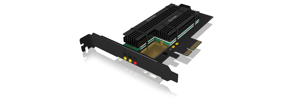 IcyBox PCIe extension card for 2x M.2 SSDs, heat sinks