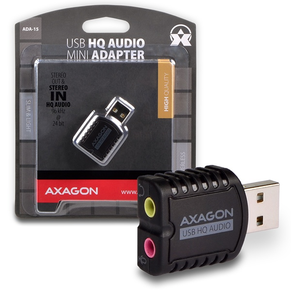 AXAGON USB2.0 - stereo HQ audio MINI adapter 96kHz