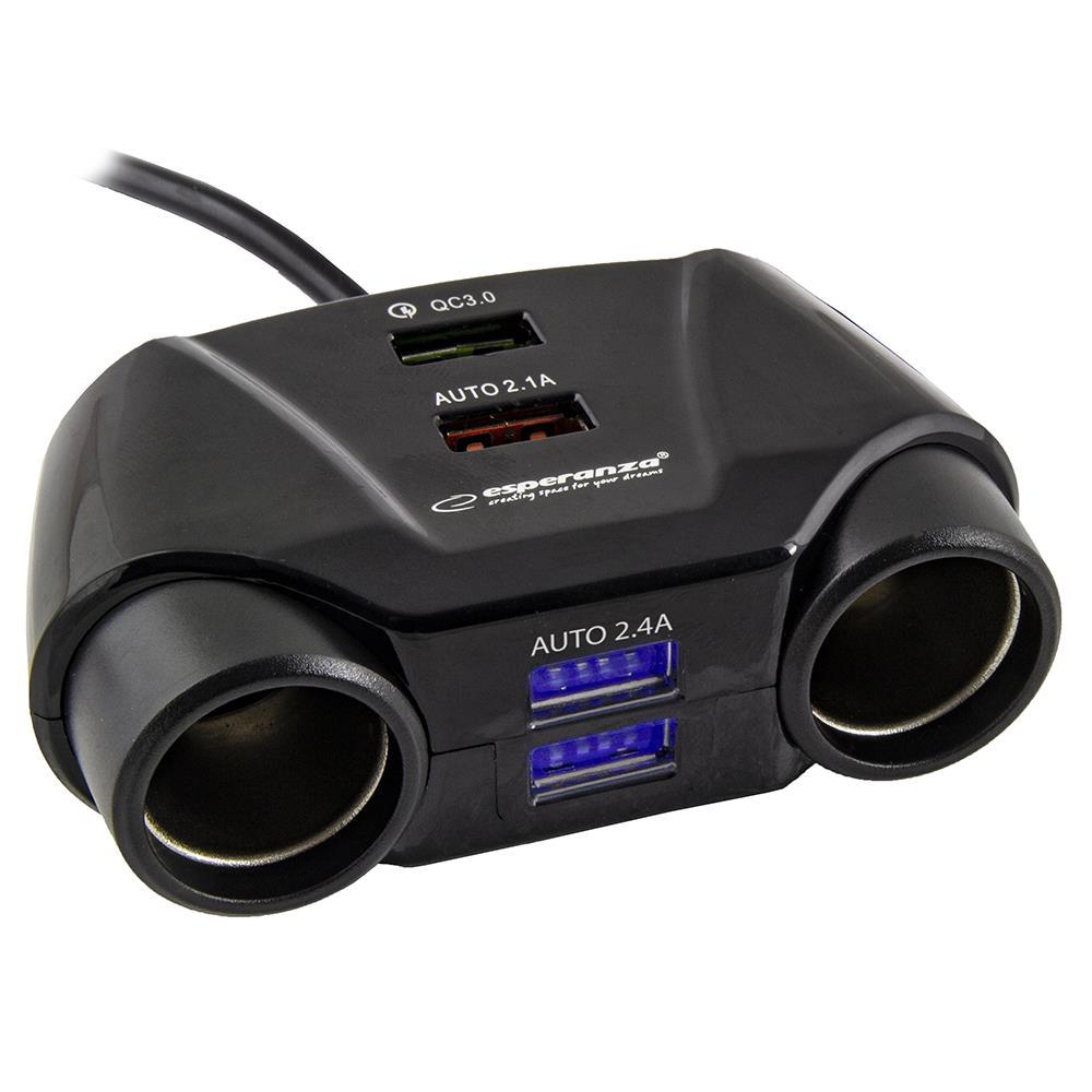 Esperanza EZ132 ASTI napájecí adaptér do auta, 2x zasuvka zapalovače + 4xUSB