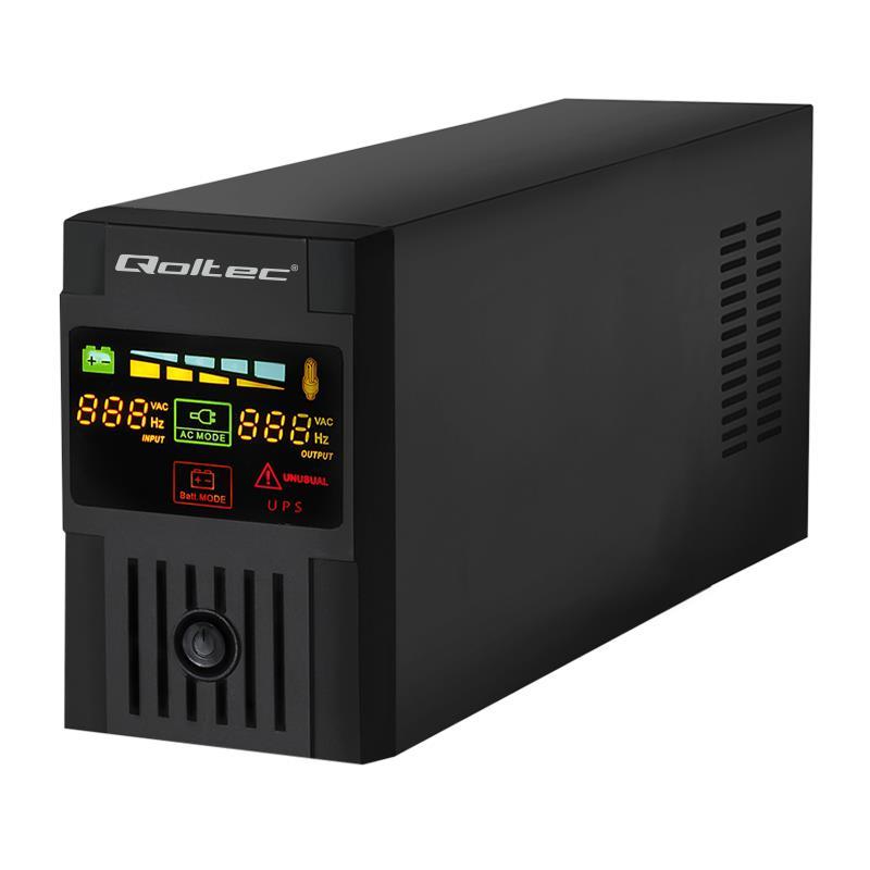 Qoltec Nepřerušitelný zdroj napájení MONOLITH 600VA | 360W LCD USB
